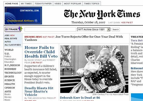 NY Times Homepage 10.18.07