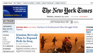 NY Times Homepage 1.29.07